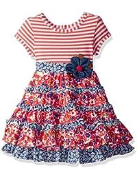 Girls' Coral/White/Chambray Print Mixing Dress