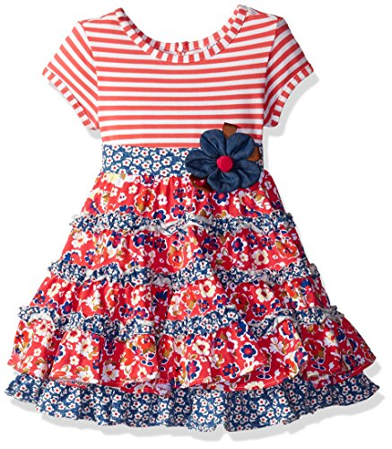 Rare Editions White Dress (Rare Editions Little Girls' White/Chambray Print Mixing Dress, Coral, 6)