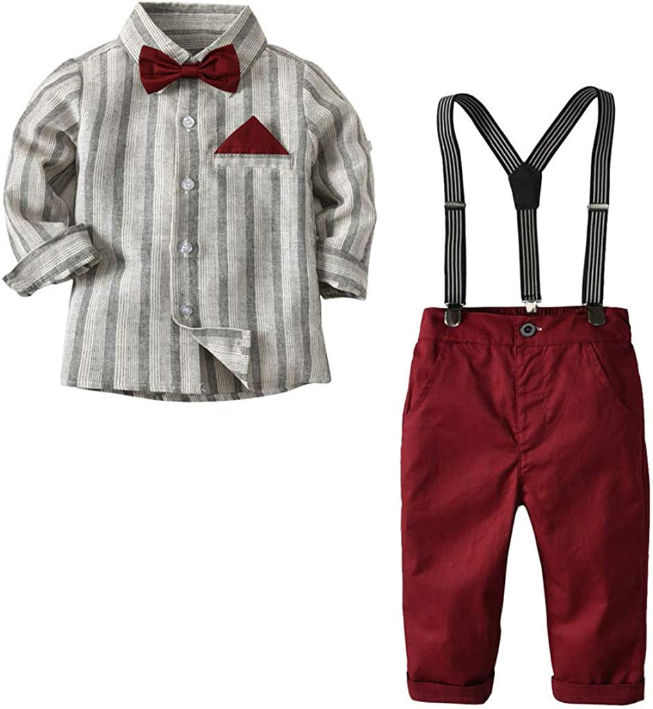 Zerototens Boy Clothing Set,1-6 Years Old Toddler Baby Kids Boys Gentleman Stripe T-Shirt Top Plaid Overall Trousers Pants Set Birthday Wedding Party Suit