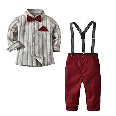 4670549ecee Amazon.com  Baby Toddler Boys Clothes Formal Sets Wedding Suit 1-6 Years  Old Kids Gentleman Stripe T-Shirt Plaid Pants Outfit  Clothing