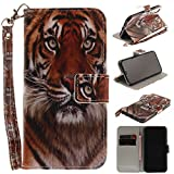 Misteem Case for iPhone X / XS Animal, Cartoon Anime Comic Leather Case Wallet with Bookstyle Magnetic Closure Card Slot Holder Flip Cover Shockproof Slim Creative Pattern Shell Protective Cover for iPhone XS / X [Tiger]