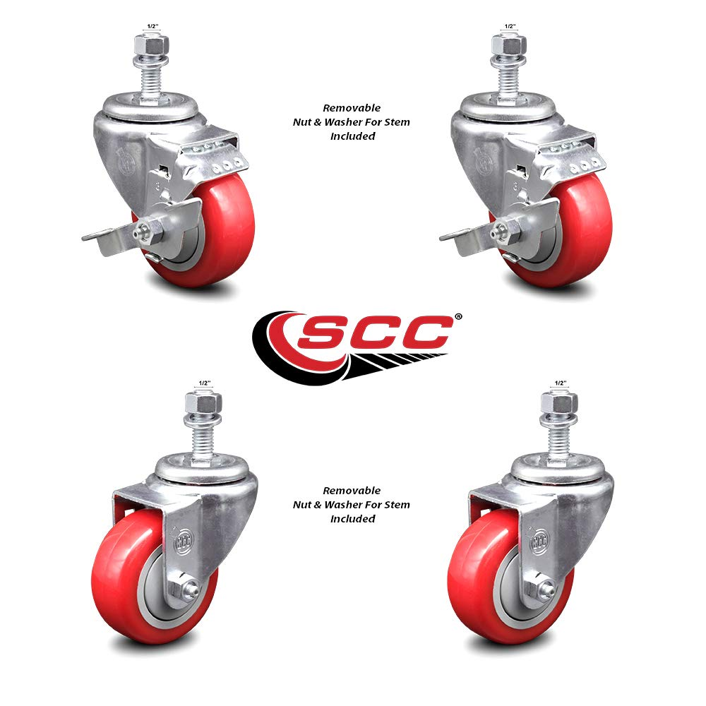 Polyurethane Swivel Threaded Stem Caster Set of 4 w/3.5'' x 1.25'' Red Wheels and 1/2'' Stems - Includes 2 with Top Locking Brake - 1000 lbs Total Capacity - Service Caster Brand