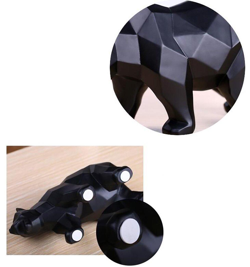 Qiulv Statue R/ésine Noir Ours Polaire Abstrait Moderne Art Sculpture Figurine G/éom/étrique Animal Statue Accueil Ornements D/écoration Cadeau Artisanat