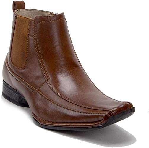 J'aime Aldo Men's 76631 Leather Lined Ankle High Square Toe Chelsea Dress Boots