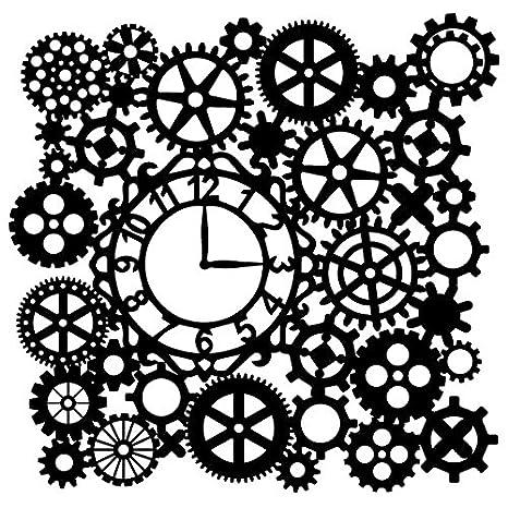 Siluetas de Laser de plantilla, 28 cm x 28 cm, Reloj de engranajes con | pared creativos gestaltung, textil, papel, scrapbooking: Amazon.es: Hogar