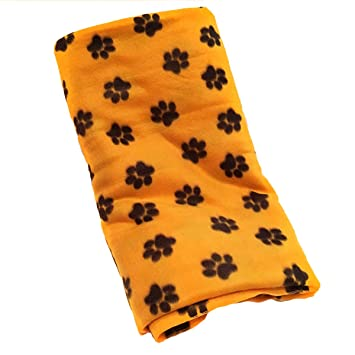 Fleece Printed Paw Print Yellow Gold Throw Blanket 58 Inch By 72