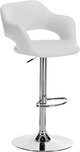 Monarch Specialties 2358 White and Chrome Metal Hydraulic Lift Barstool