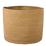 Goodpick Jute Basket - Woven Storage Basket - Rope laundry basket with Handles for Toys, Magazine, Books, Blanket, Logs, and Pot Plant Cover, Versatile Plant Holder Floor Storage Bin, 15.8''H x 12.6''D