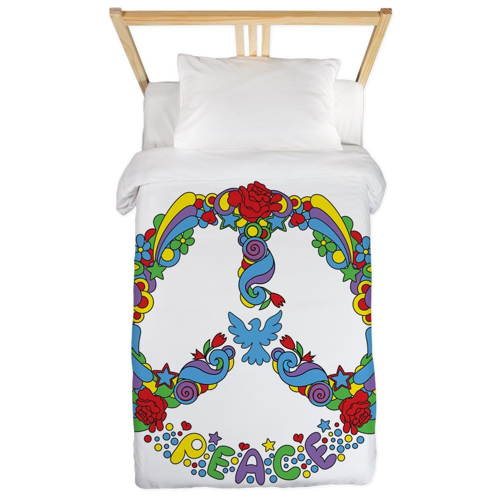 Twin Duvet Cover Pop Art Peace Symbol Flowers Stars