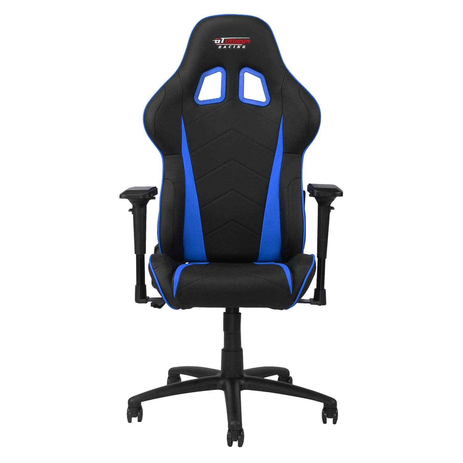 GT OMEGA PRO Racing Gaming Chair with Ergonomic Lumbar Support - PVC Leather Reclining High Back Home Office Chair with Swivel - PC Gaming Desk Chair for Ultimate Racing Experience - Black Next Blue