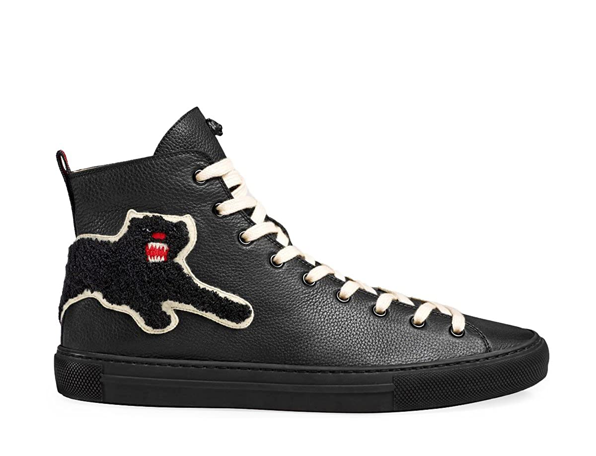 06a26dddcb6 Amazon.com: Gucci Men's Major Patch Leather High Top Sneaker, Black (8.5 US  / 8 UK): Shoes