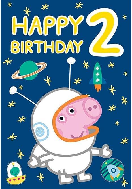 Amazon.com: Peppa Pig George Spaceman 2 años de edad tarjeta ...