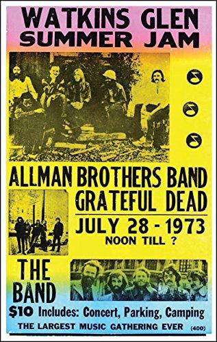 Dead Vintage Poster (Watkins Glen Summer Jam Featuring The Allman Brothers, Grateful Dead 14