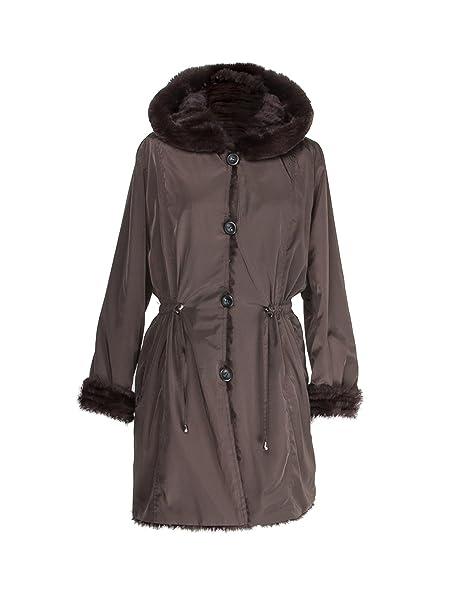Zerimar Abrigo Reversible con Capucha Un Lado de Textil Impermeable y Otro Lado de Piel de