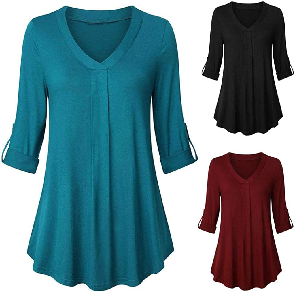 URIBAKE Womens Long Sleeve Solid Color Button Casual Loose Tops Tunic Ladies Blouse Shirt 3//4 Sleeve