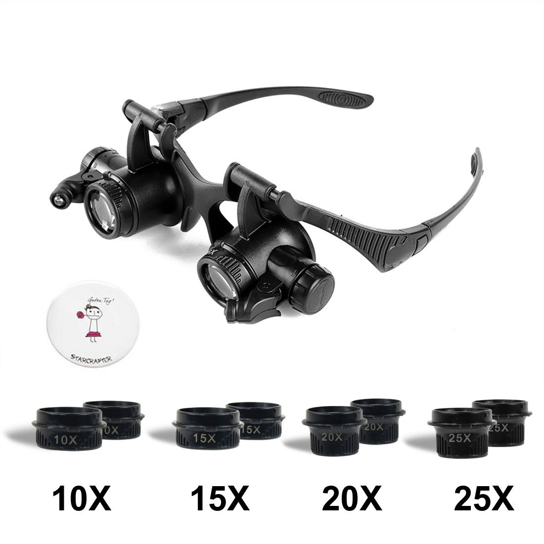 Starcrafter 10 x 15 x 20 x 25 x Gafas de ojo de lupa lupa LED de joyero  para reparación de relojes  Amazon.es  Electrónica ee69660b7f9a