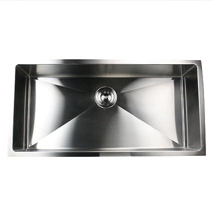 Nantucket Sinks SR3618 16 36 Inch Small Radius Large Rectangle Stainless  Steel Undermount Kitchen