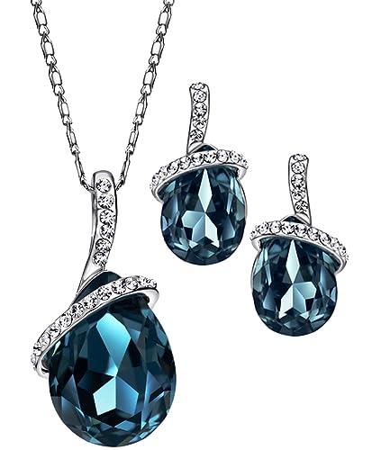 6ae2c2ded7c7 NEOGLORY Conjunto de Joya Collar Pendientes con Cristales Swarovski Azul  Joya Original Regalo Mujer  Amazon.es  Joyería