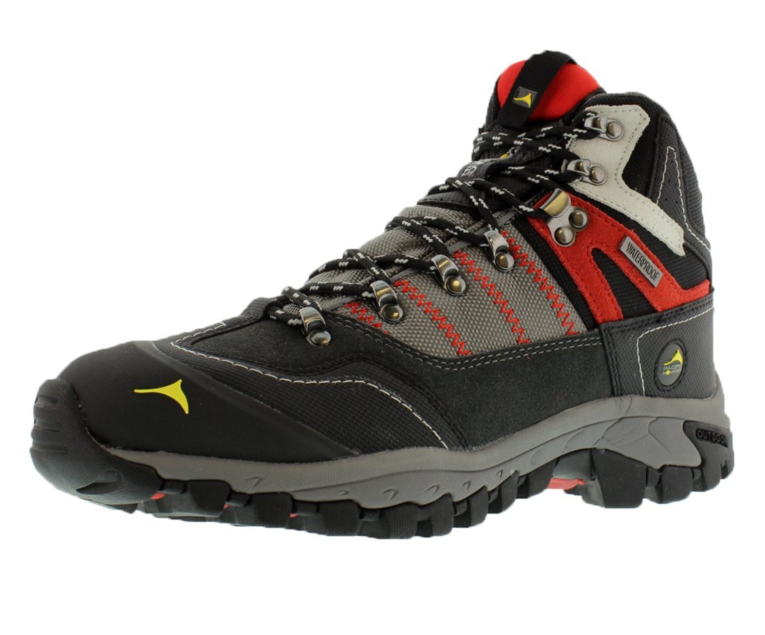 Pacific Mountain Ascend Men's Waterproof Hiking Backpacking Mid-Cut Grey/Black/Red Boots Size 10