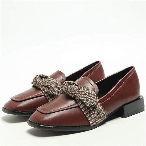MarróN Arco Zapatos Casuales Mujeres PU Zapatos Solos Cuadrados Cabeza áSpera con Zapatos Planos Mocasines De Moda Adecuados para Combinar Casual/Trabajo: ...