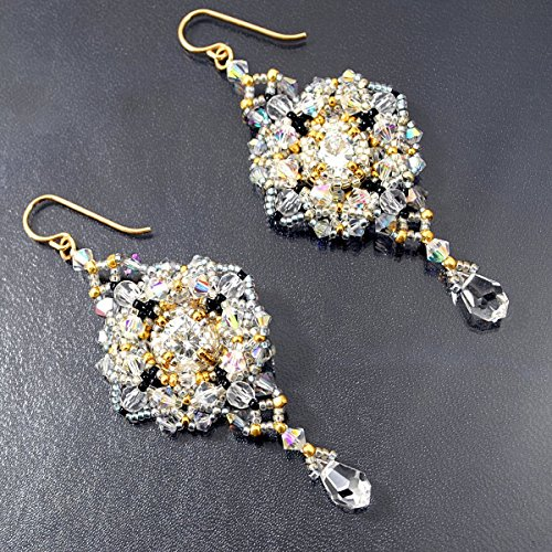 Large Lacy Cubic Zirconia Earrings with Rock Quartz Briolettes, Artisan Crafted in 14K Gold (Briolette 14k Gold Earrings)