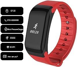F1Smart Pulsera Reloj Heart Rate Monitor Smart Band Wireless fitness wctch Blood Pressure Reloj Inteligente para Android IOS Teléfono, Rojo