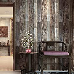 "HaokHome 5003 Weathered Faux Wood Plank Wallpaper Rolls Slategray/Brown Barnwood Wallpaper Murals Home Kitchen Bathroom Decoration 20.8"" x 31ft"