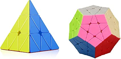 learn with fun- Set of 2 Cube Combo Megaminx and Pyramid (Stickerless Speed Smooth Cube Set)