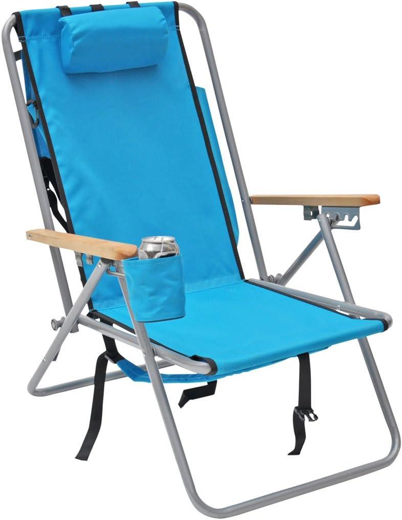 Amazon Com High Back Steel Backpack Beach Chair By Wearever Aruba Blue Sports Outdoors