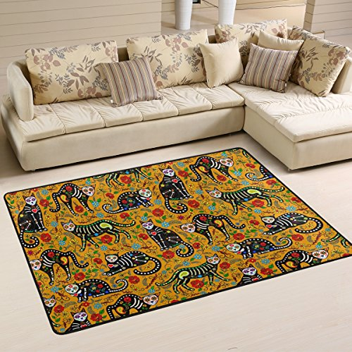 Gorgeous Day of the Dead Floral Sugar Skull Black Cats in Mexican Style Halloween Decorations Area Rugs Pad Non-Slip Kitchen Floor Mat for Living Room Bedroom 2' x 3' Doormats Home Decor ()