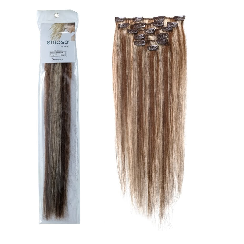 Emosa 7Pcs 70g Clip In Silky Soft Remy Real Human Hair Extensions #4/613 Medium Brown Mixed With Light blonde Silky Soft
