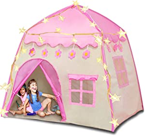 Princess Castle Play Tent with Lights Kids Teepee Tent Large Children Playhouse Oxford Fabric Children Playhouse for Indoor Outdoor with Carry Bag Portable Playhouse Boys & Girls Birthday Gift (Pink)