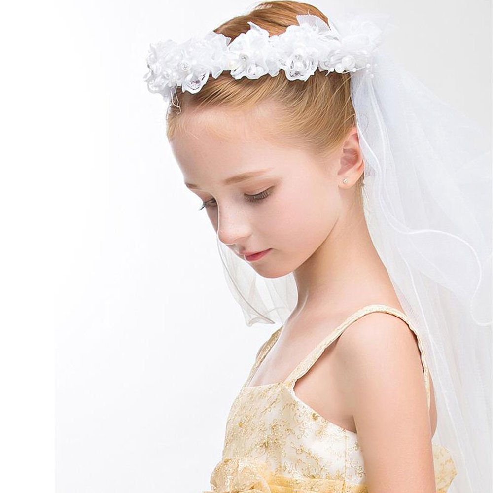 2 Layers Girls White Floral First Communion Veils Wreath Wedding Flower Headband