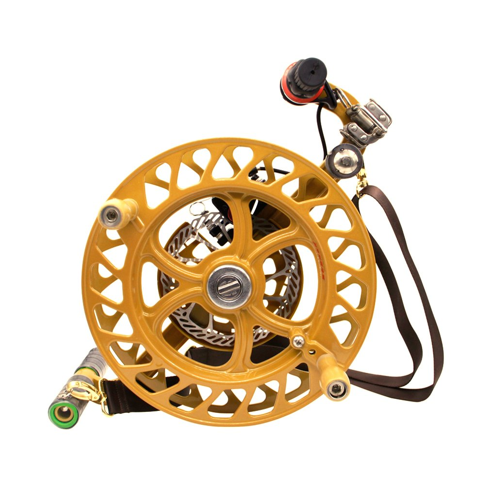 EMMAKITES 12.6'' Kite Winder Reel with Disc Brake Shoulder Strap 7 Rollers for Kite Line In and Out
