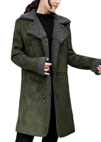 80b166e57d6 Amazon.com  Enlishop Women Warm Army Green Long Lamb Wool Suede Trench Coat  Shearling Jacket  Clothing