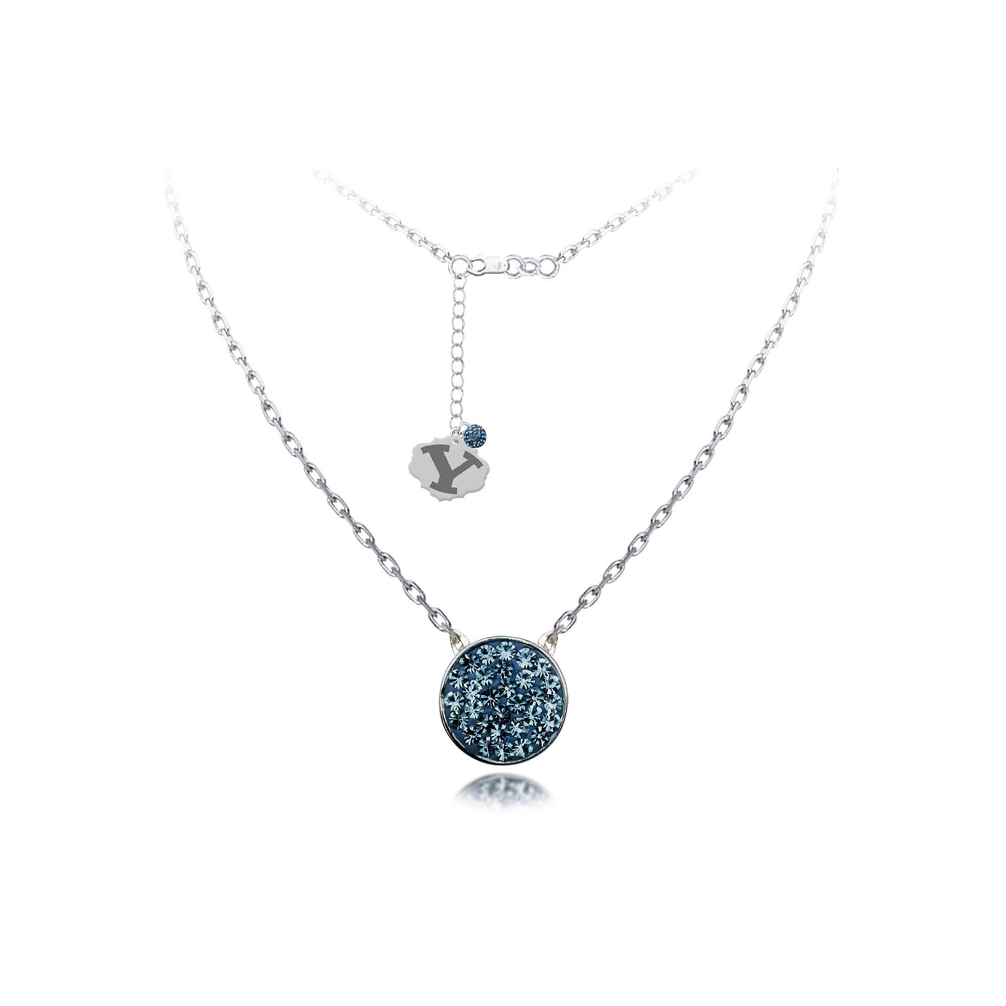 DiamondJewelryNY Silver Pendant, Spirit Disc Nk/Brigham Young Univ