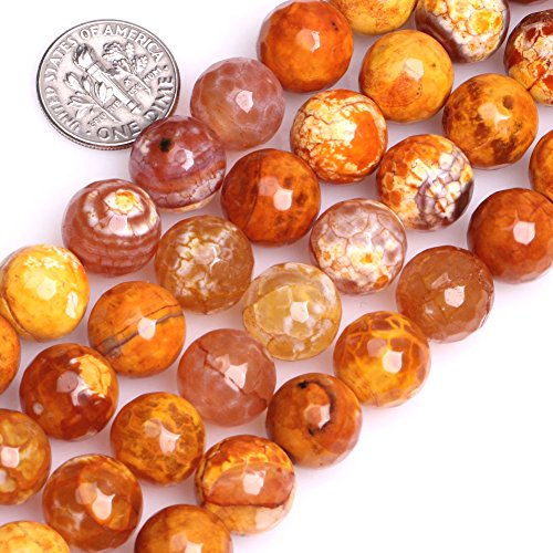 ackle Agate Gemstone Loose Beads Energy Power Beads for Jewelry Making 12mm Round Faceted 15 inches ()