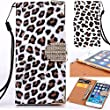 iPhone 7 Plus Case Leopard, Miniko(TM) Fashion Leopard Leather Bling Glitter Sparkle Diamond Rhinestone Magenetic Flip Wallet Type with Credit Card Holder Case for iPhone 7 Plus - White