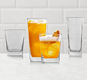 Elegant Drinking Glasses Set of 8, Glassware Set Includes 4 Highball Glasses, 4 Rocks Glasses Heavy Base Glass Cups for Water, Juice, Beer, Wine, and Cocktails