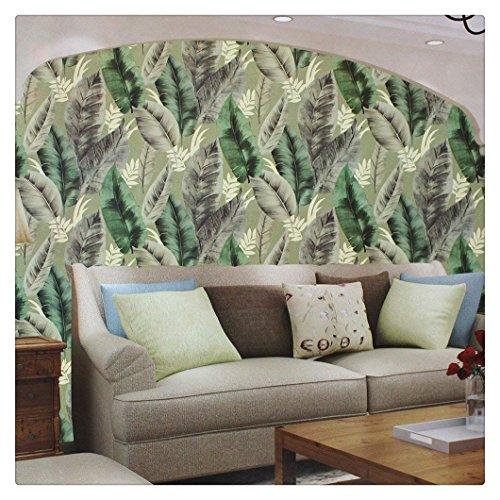(HaokHome 660703 Banana Leaf Wallpaper Rolls Green/Black/Ivory Vinyl Textured Wall Decoration 20.8