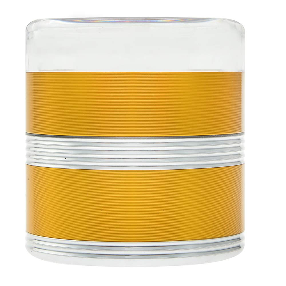 Gold-Silver NeraNena Herb Spices Grinder 2.4 Big 5 Piece Crusher Clear Top Chamber Durable Aluminium