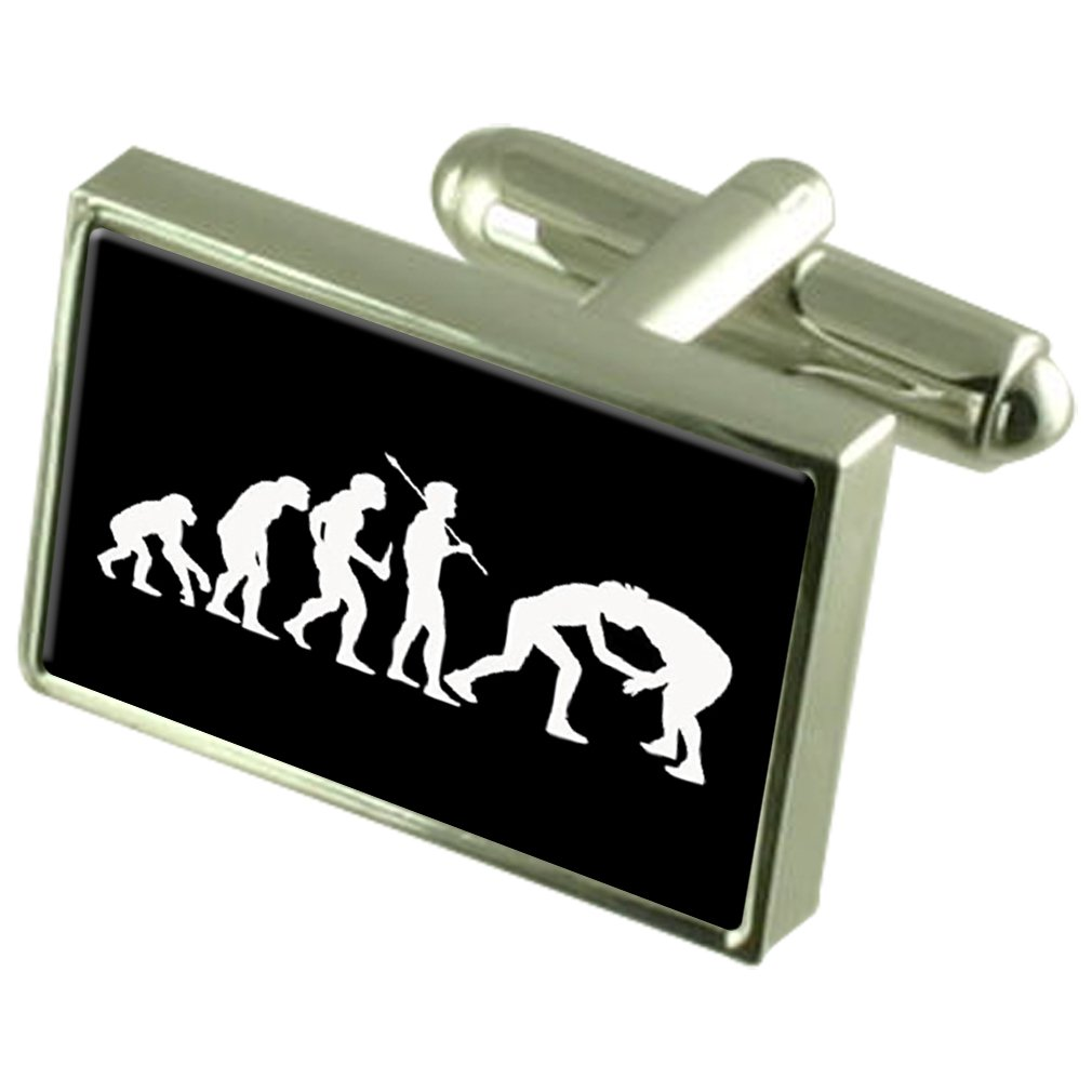 Evolution Ape to Man Wrestling Cufflinks Engraved Message Box by Select Gifts