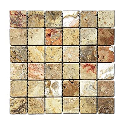 Scabos 2 X 2 Tumbled Travertine Mosaic Tile - Box of 5 sq. ft.