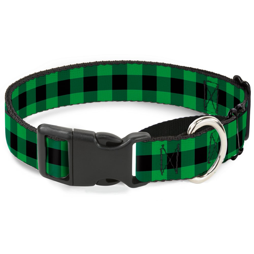 Buckle-Down Buffalo Plaid Black Neon Green Martingale Dog Collar, 1  Wide-Fits 11-17  Neck-Medium