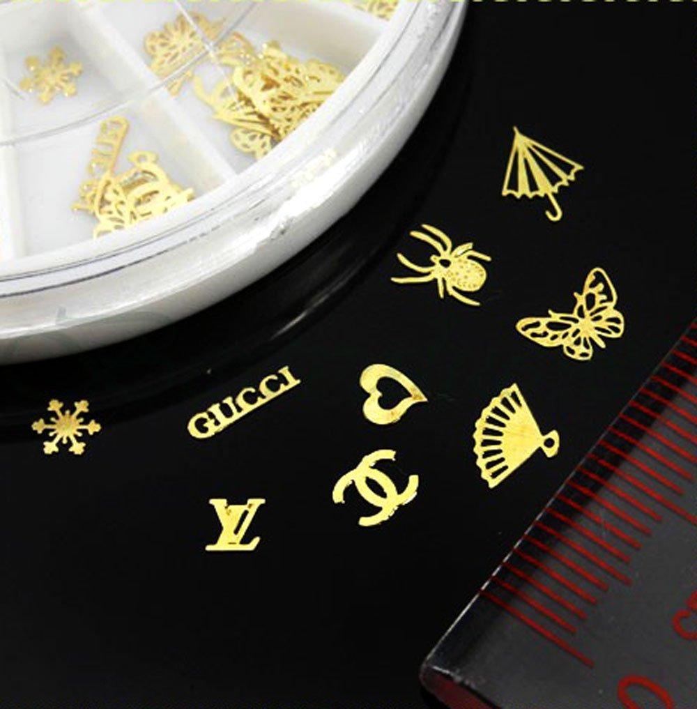 Amazon.com: TOOGOO(R) 60pcs 12 Hollow Style DIY Gold Metal Sticker ...
