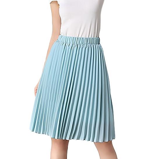 a28cc504c82374 Röcke Damen Sommer Elegant Rock Knielang Mädchen Kleidung High Waist Mode  Casual Faltenrock Plisseerock Sommerrock (Color : Blau, Size : One Size):  ...