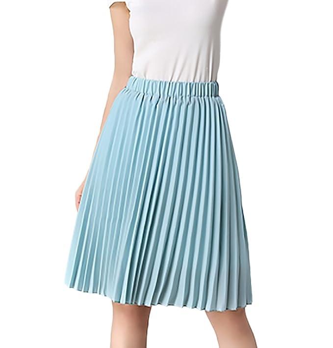 2d46615485a8 Röcke Damen Sommer Elegant Rock Knielang High Waist Mode Casual Bekleidung  Faltenrock Plisseerock Sommerrock