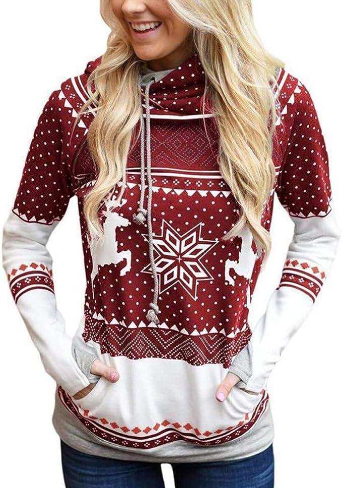 SUNYASTOR Venta de Limpieza Jersey de Navidad para Mujer diseño de Lunares de Reno con Capucha