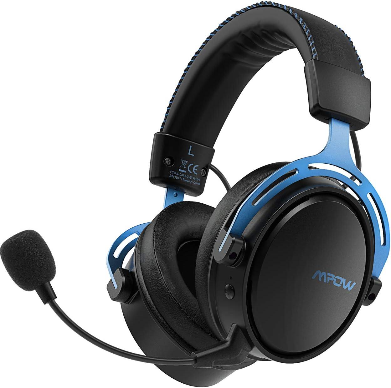 Mpow Air 2.4G Auriculares Gaming para PS4, PC, Xbox One, Estéreo Cascos Inalámbricos para Juegos con Micrófono Desmontable con Cancelación de Ruido,Transmisor USB Incluido - Azul