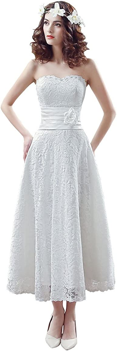 lemondress Womens Floral Lace Knee-Length Short Wedding Dress Bridal Gown